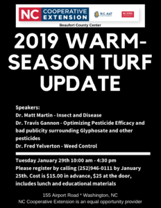 Cover photo for 2019 Warm-Season Turf Update - Beaufort County, NC