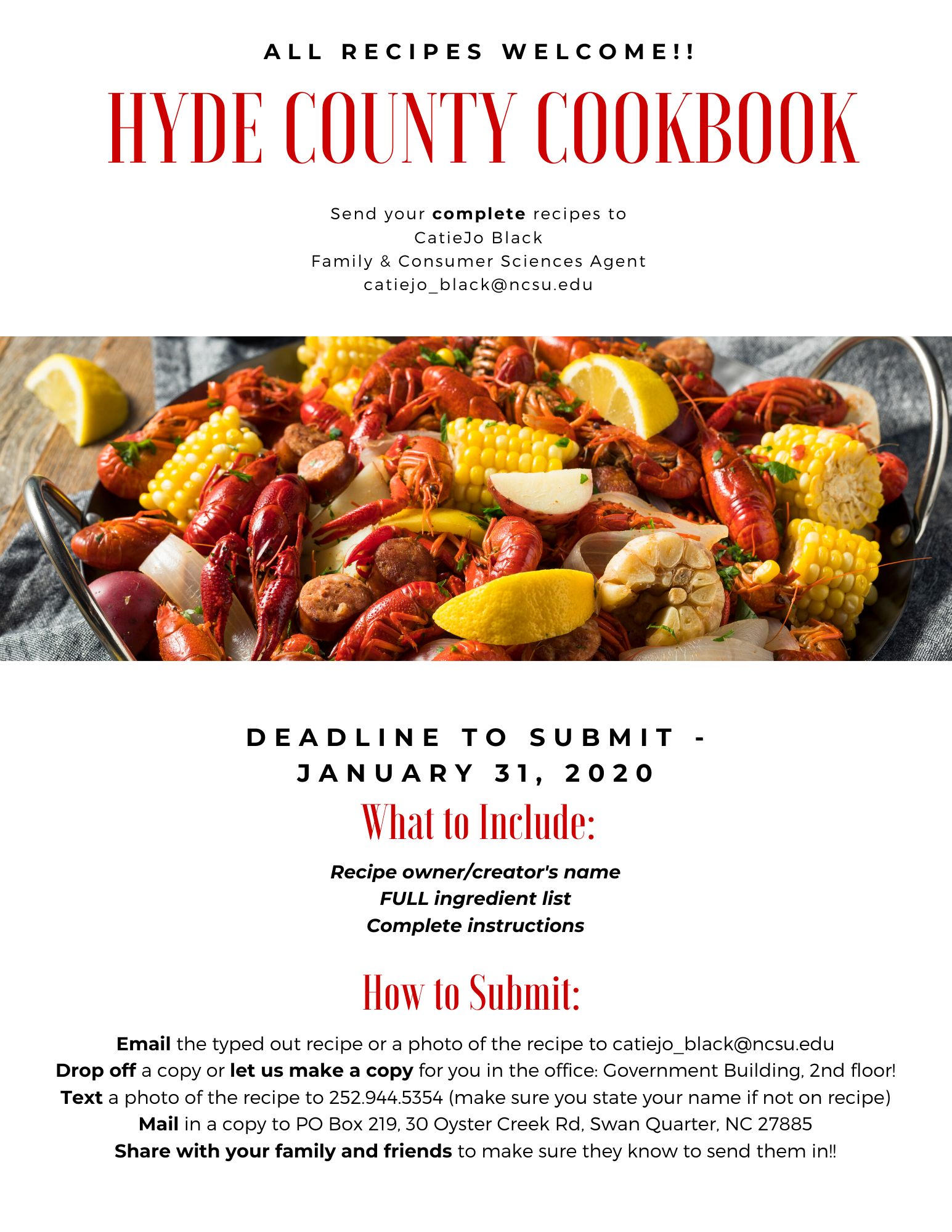 Hyde County Cookbook flyer image