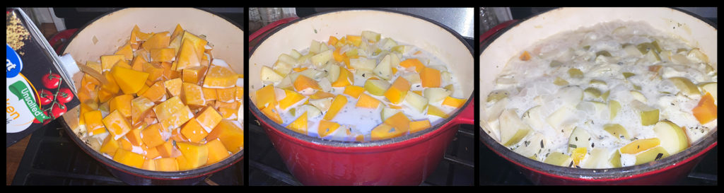 Butternut Squash and Apple Soup Cooking