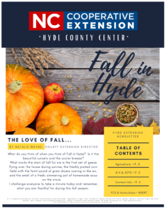 Cover photo for Hyde County Cooperative Extension Fall 2020 Newsletter