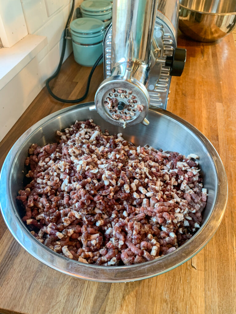 Ground meat for sausage