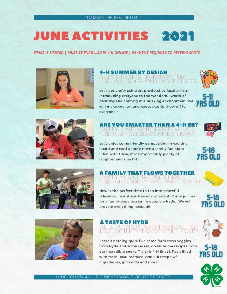 June activities page 1